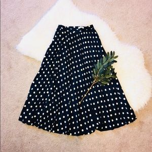 Navy Blue Pleated Skirt with Polka Dots